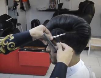جدا کردن لایه نازکی از مو برای شینیون مو مردانه و پسرانه