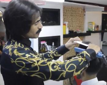 سشوار کشیدن مو برای شینیون مو مردانه و پسرانه7