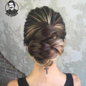عکس مدل شنیون مو برای صورت کشیده پایین