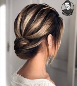 عکس مدل شنیون عروس برای موهای کوتاه