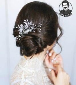 عکس مدل شنیون موی کوتاه برای عروس پایین