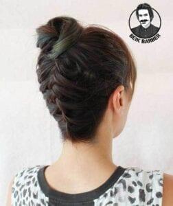 عکس مدل شنیون برای موهای کوتاه با بافت بالا