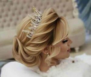 عکس مدل شنیون عروس با تاج