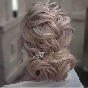 عکس مدل شنیون عروس خطی پایین جدید