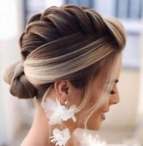 عکس مدل شنیون عروس ساده با بافت