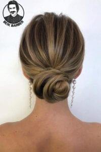 عکس مدل شنیون موی کوتاه خطی
