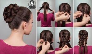عکس مدل شنیون ساده بافت برای موهای بلند