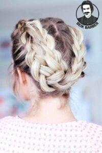 عکس مدل شنیون برای موی کوتاه با بافت دخترانه